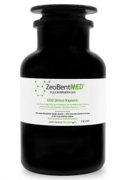 ZeoBent MED® 600 detox capsules in violet glass, Medical device